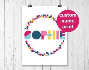 Custom Name Print, Personalized Name Print, Custom Name Art, Geometric Print, Personalized Nursery Wall Art, Printable Wall Art, Name Gifts,