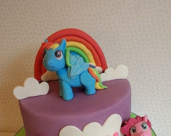 My little pony edible cake topper set