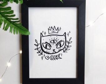 Evil Eye Cat Queen A5 Art Print