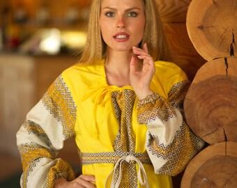 """Traditional Dress """"Autumn"""", Slavic dress, linen dress, pregnant dress, floor lenght dress, long sleeve dress"""