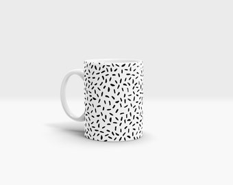 Black Dashes Mug. 11oz Ceramic Mug.