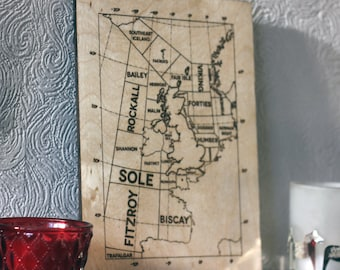 Wooden shipping forecast map, great nautical decoration for someone who loves the sea, boats and sailing.