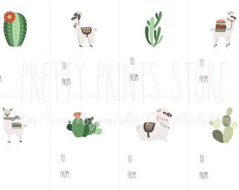 Llama and Cacti Gift Tags Printable | Alpaca and Cactus | Instant Download