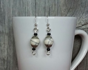 Tibetan beaded dangle earrings, handmade beaded earrings, white earrings, dangle earrings, Tibetan beaded earrings, white beaded earrings
