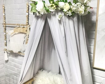 White peony & rose floral wreath decor for baby's nursery, fits our canopies or hang above baby cot or crib. Flowers peonies roses. Babies
