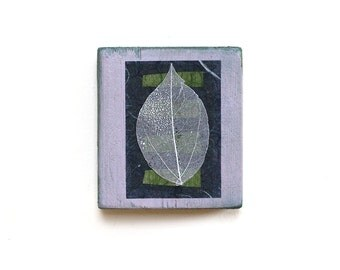 Mixed media reclaimed wood art block, small abstract collage in lavender and green with silver leaf, handmade zen decor