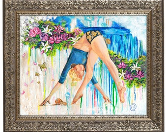 ORIGINAL PAINTING - Yoga Painting, Wall Art, Yoga Art, Contemporary Art, Gifts for Yogi, Acrylic Painting, Giclee, Yoga Room, Home Decor