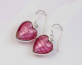 Heart Earrings - Pink Earrings - Pink heart earrings - Pink Wedding - Bridesmaid Earrings - Murano Glass hearts