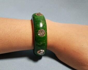 Bakelite Rhinestone Green Cuff Bracelet