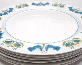 Mid Century Modern Mikasa Plates, Vintage Mikasa Salad Plate, Mediterrania Blue Bird Pattern, Vintage Dinnerware, Retro, Mid Century Kitchen