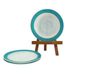 Vintage Turquoise Pyrex Plates, Pyrex Saucer Plates, 3 Pc, Turquoise and Gold, Pyrex Plate, Pyrex Dinnerware, Retro Kitchen, Vintage Kitchen