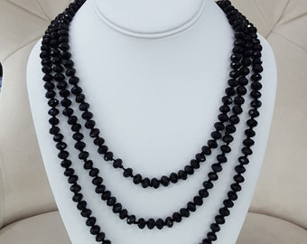Black Faceted Crystal Opera Length Necklace 80""