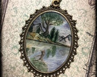 pendentif paysage peint à la main  aquarelle miniature watercolor nature original