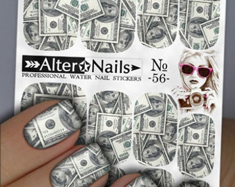 Money nail art etsy 56 dollars money nail water wraps art stickers decals prinsesfo Images