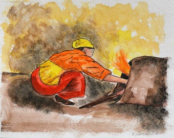 Village Woman Baking Bread/Original Signed Watercolor Painting/Woman in Red