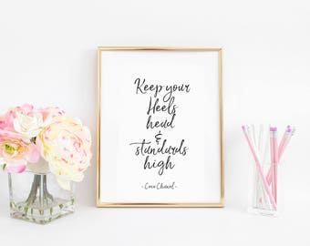 Fashion Wall Art,Coco Chanel Print,Coco Chanel Decor,Keep your Heels Head,Fashion Print,Girls Room Art,Coco Chanel Quote,Coco Chanel Art
