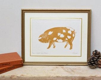 Pig Linocut Print A5 Handprinted Lino Animal Illustration Print, Pig Gift, Kitchen Prints Nursery Farm Print, Country Wall Decor Block Print