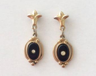 Vintage 1950's Art Deco Style Black Enamel Gold Paste Rhinestones Fleur De Lis Dangle Drop Earrings