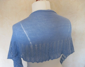 Lace shawl scarf shawl knitting cloth knitting shawl wool silk blue hole pattern border