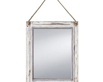 "Antique White Rustic Vintage Distressed Shabby Chic Mirror 15""x19"" w/ Rope Hanger"
