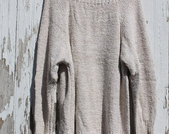 Oatmeal White Vintage Knitted Valeri 1970s Cotton Sweater size large/extra large