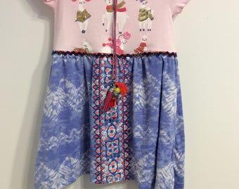 Toddler girl dress, 4T, boho girl, llama print, upcycled clothing, OOAK, sustainable clothing