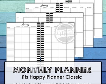 MAMBI Happy Planner Printable Monthly Planner inserts bundle for Happy Planner Classic