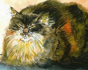 Tortoiseshell Cat Print, Tortoiseshell Cat watercolour, Cat lover's gift, Cat artwork, Cat home decor, Cat print