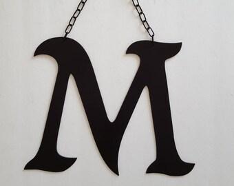 Large Metal Letter M Letter M Black Metal Vintage Style Letter Wall Hanging Or