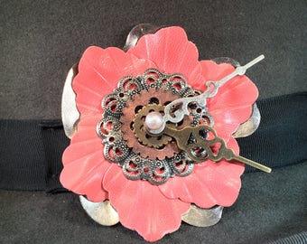 STEAMPUNK FLORAL CLOCK -hat pin, lapel pin, brooch, corset pin etc