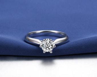 Round Cut Moissanite Engagement Ring 14k White Gold Forever One Moissanite Ring Solitaire Diamond Engagement Ring Charles & Colvard
