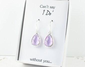 Lavender Silver Teardrop Earrings, Silver Lavender Earrings, Bridesmaid Gift, Wedding Jewelry, Bridesmaid Earrings, Wedding Accessories