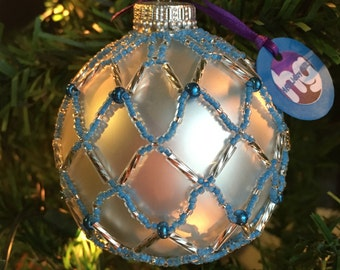 3 inch Hand Beaded Glass and Ornament
