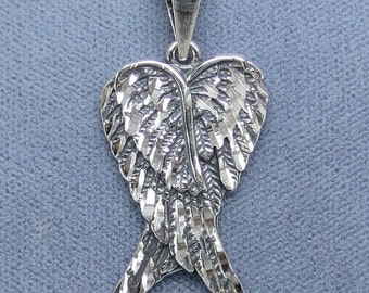 Sterling Silver Angel Wings Pendant - P200528 -  Free Shipping