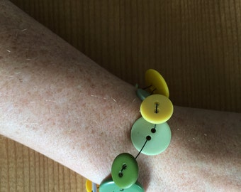 Vintage/Used Button Bracelet (greens and yellows)