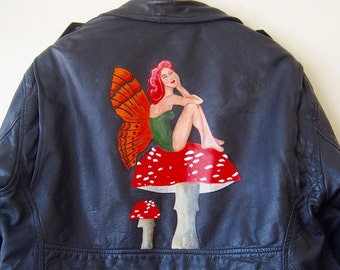 vintage hand painted leather biker jacket