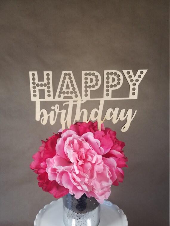 Happy Birthday Wooden Cake Topper Party Wood Celebration Shabby