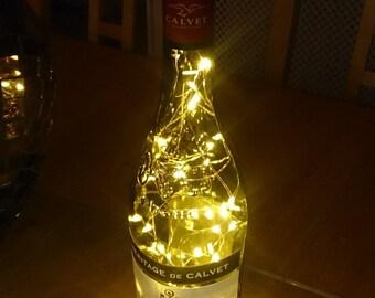 Upcycled Calvet Wine Bottle Lamp. Perfect Mood Lighting Gift For Women. Ideal Boyfriend Gift For Men & Man Caves. Cool Upcycled Lighting