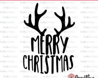 Merry Christmas Antlers SVG Digital Cut File