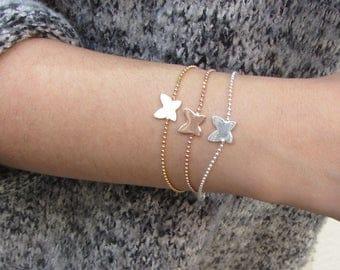 Nature jewelry for women, Butterfly Bracelet, Sterling Silver butterfly, Butterfly Chain Bracelet, Butterfly gold rose  bracelet
