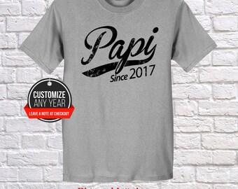 Papi since (any year) Papi gift , Papi birthday , Fathers Day , Papi tshirt , Papi gift idea , Baby shower, Pregnancy Association