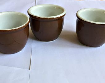 Vintage Hall Pottery Brown Custards or Ramekins