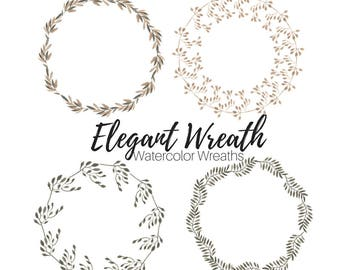 Flower Wreath Clip Art - Blue Wreath Clip Art - Floral Clip Art - Wedding Clip Art - Commercial Use