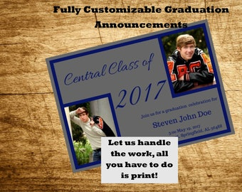 Two Picture Printable Graduation Announcement or Open House Invitation