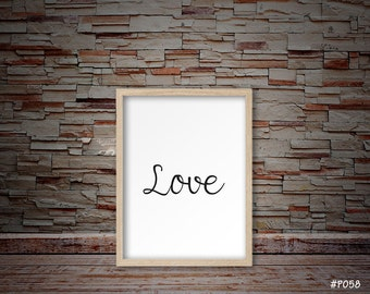 love sign, love print, love poster, love is love, love decor, valentine print, valentines day print, love quote, typography print#P058