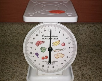 Scale, Vintage food scale white, kitchen food scale, Retro scale vintage scale antique scale American Family Scale Metal Fruit Food Face