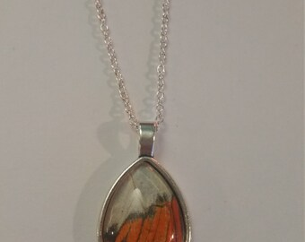 Orange and White Teardrop Necklace