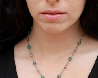 "Virgin Mary Beaded Pendant 18"" Necklace - FJ07"