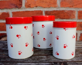 SALE! Vintage Camp Tins - Cherry Print, Stackable Containers