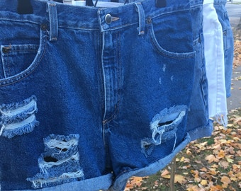 Vintage distressed high waisted denim shorts